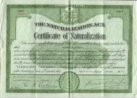 Certificate of Naturalization for Shifra Altshuler.