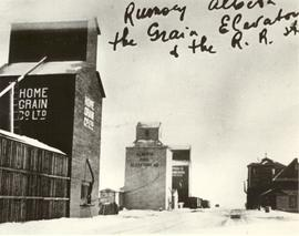 Grain Elevators at Rumsey, Alberta.