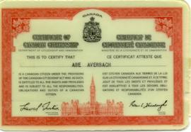 Certificate of Canadian Citizenship for Abe Averbach.