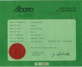 Certificate of Marriage for Abraham Estrin and Rebecca Gofsky.