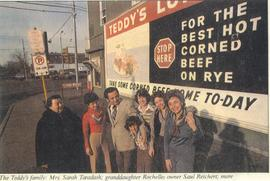 Reichert family in front of Teddy's restaurant.