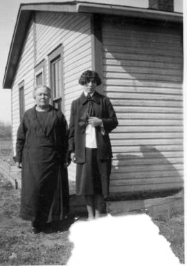 Mrs. Elsie Smith and her daughter Annie Smith, Millet, Alberta.