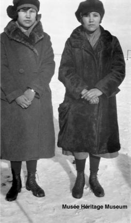 Isabelle Littlewolfe (?) and Monica Whitstone at 2nd residential school at Onion Lake, Saskatchewan