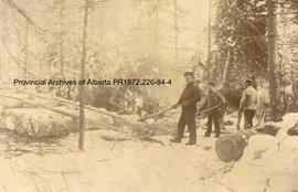 Loggers hooking logs at Ingolf, Ontario