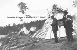 Birch bark teepees at Lake of the Woods, Ontario