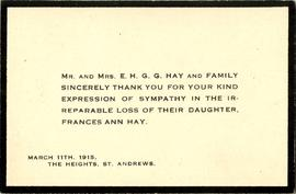 Sympathy Acknowledgement Card.