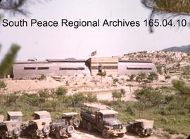 Korean peace-keeping mission building and trucks.