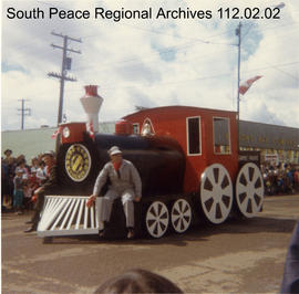 Rudy Croken with Parade Float - Kinsmen Train Engine