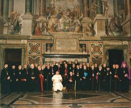 Wide shot of Bishops with Pope