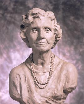 Clay bust sculpture of Violet Archer