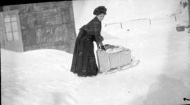 Mrs. Romanet with Sled