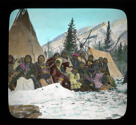 [Group of unidentified women, children and men at Kootenay Plains in winter]