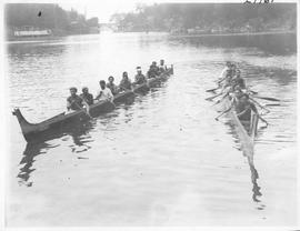 Victoria. Cowichan Indians and their war canoes in which they hold annual races between the 6 dif...
