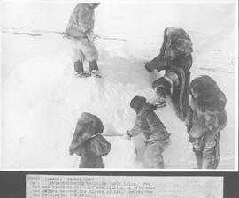 Canada. Hudson Bay. Esquimo family building their igloo. The man and woman on the roof are fillin...