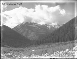 Mt. Cheops, Roy, Grizzly &c from edge of Moraine of Illecillewaet Glacier (No.52). 8/11/99