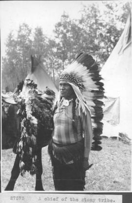 A chief of the Stony tribe [Stoney Indians] / 27573