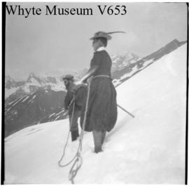 Untitled : [Mary M. Vaux and Swiss guide on unidentified mountain]