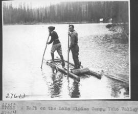 A raft on the lake, Alpine Camp, Yoho Valley / 27613