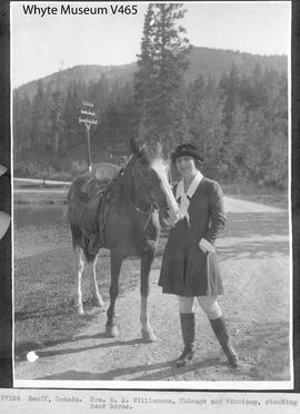 Banff, Canada. Mrs. W. A. Williamson, Chicago and Winnipeg, standing near horse / 27106