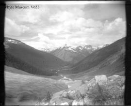 The Hermit Range & upper Illecillewaet Valley from upper end of base line on left moraine, Il...