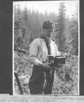 A. 0. Wheeler, head of Alpine Club & camera used for mapping work in mountains by Canadian Government / 27665