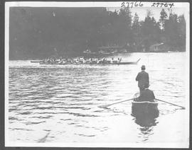 Scene in the Indian war canoe race, Victoria / 27764