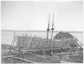 Canada (Nova Scotia). Fishing schooner being built near Shelburne on Nova Scotia's South shore / ...