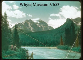 Mt. Temple from mouth of the Pipestone, Laggan Alberta, 1900