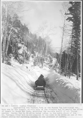 Canada. Quebec Province. Approaching  the Viaduct Turn on the Murray Bay bob-sleigh run. This run...